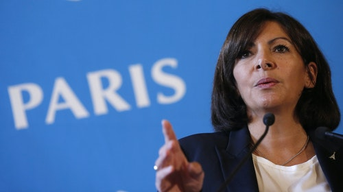 Mayor of Paris Hidalgo attends a news conference at Paris city hall