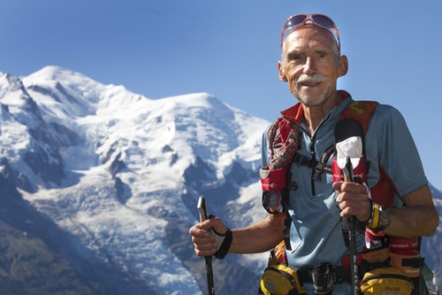 Swiss runner Werner Schweizer trains with Mont-Blanc in the background ahead of the Ultra-Trail du Mont-Blanc in Chamonix