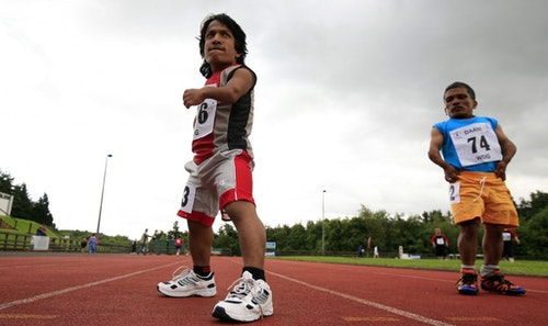 Indian athletes prepare for the final of the 100 meter sprint at the World Dwarf Games at the Mary Peters track