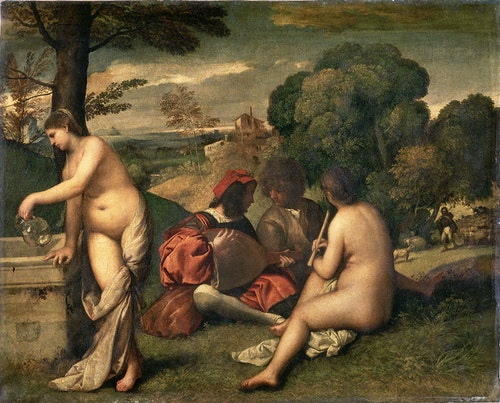 Titian (formerly attributed to Giorgione), Pastoral Concert, c. 1508. Oil on canvas.