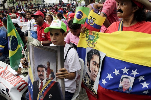 Supporters of Venezuela's President Maduro attend a rally to celebrate the 206th anniversary of the Declaration of Independence, in Caracas