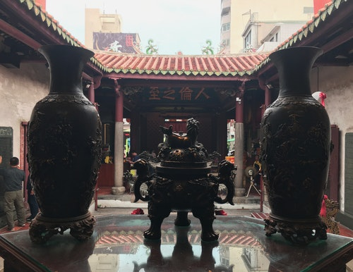 Votive vases in a Taiwanese temple