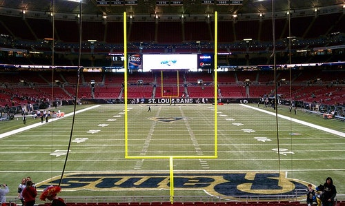 American football dward Jones Dome endzone view