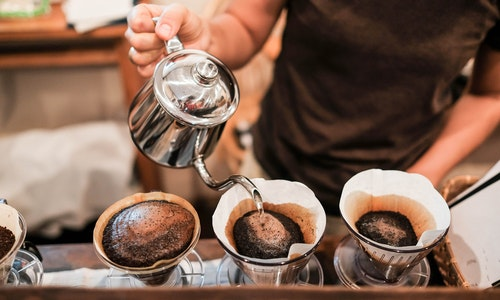 Drip brewing, filtered coffee, or pour-over is a method which involves pouring water over roasted, ground coffee beans contained in a filter. - Image